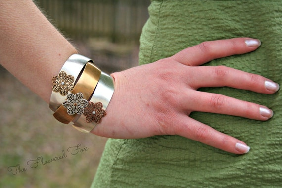 The Flowered Fox Bridal Cuff Bracelet