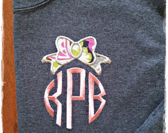 LONG SLEEVE Circle Bow Monogram - Sweet Anchor Embroidery Design