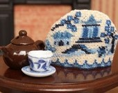 Dollhouse teacosy KIT, needlepoint  (like cross stitch), 'Willow pattern' – 1.5 inches wide x 1.2 inches high, 32 count silk gauze