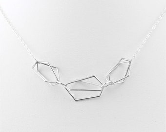 Triple Cage Necklace, geometrical necklace
