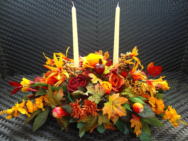 Fall floral table arrangement dinning centerpiece