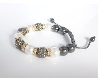 Shamballa Bracelet, Gray Bracelet, Pearl Bracelet, Hematite Beads, Thread Bracelet