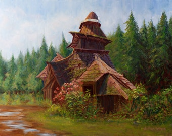 Norse Garden: Oil Painting of a Cottage in the Woods
