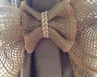 Burlap bow curtain tiebacks