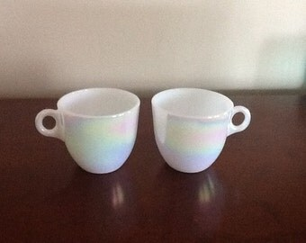 Federal Moonglow Iridescent White Coffee Mugs Set of 2 HTF, Vintage