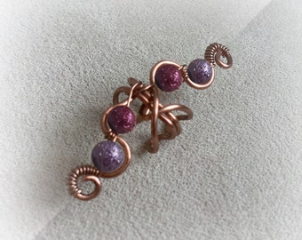 Antique Copper Ear Cuff Purple Glass Moon Beads Ear Wrap