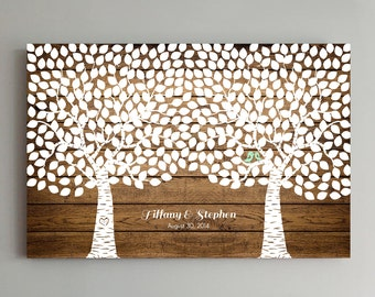 400 Guest Wedding Guest Book Wood Two Double Tree Wedding Guestbook Alternative Guestbook Poster Wedding Guestbook Poster - Wood design