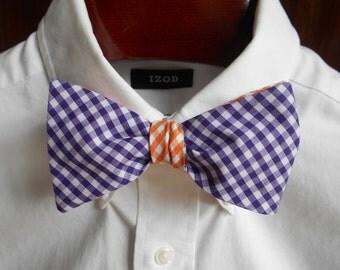Bow Tie - Clemson Purple and Orange Reversible Gingham - Men's self tie