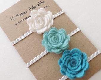 Felt Flower Headband Turquoise Shades -  Pick 3 Colors - Felt Baby Headband, Newborn Headband, Baby Girl Headband, Flower Headband