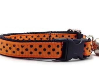 "Orange Halloween Cat Collar - ""Spook"", Breakaway Safety Buckle or Non-Breakaway, Dog Collars, Puppy Collars, Kitten Collars"