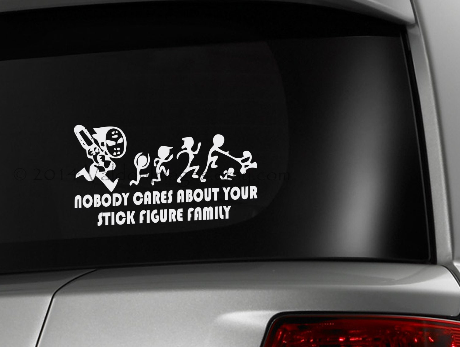 Design your car sticker - Chainsaw Maniac Chasing Stick Figure Family Car Decal Graphic Decal Vinyl Decal Decal