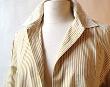 Vintage white SHIRT striped ocher yellow/kaki - Size 4 (10 US)