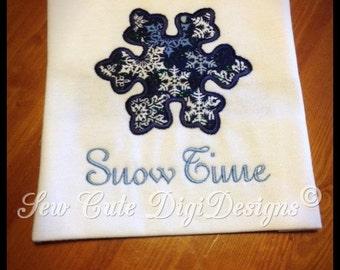Snow Time Snowflake Applique Design