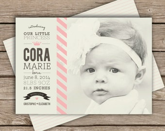 Our Little Princess Baby Birth Announcement . Rustic Baby Birth Announcement . Digital File . Photo Announcement