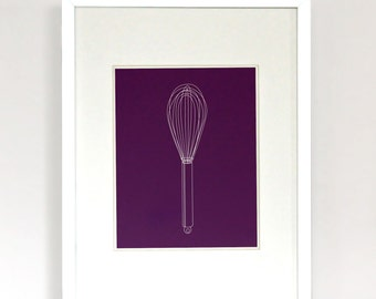 Whisked Away - Wire Whisk Modern Illustration Art Print