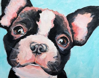 French bulldog gift, pet portrait, frenchie, dog lover, dog painting, dog portrait by Paula Prass, available in 5x5, 6x6 or 8x8 art print