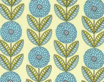 Quilting cotton fabric by the yard, 100% cotton. Green aqua floral by fabric designer Paula Prass. Need more fabric yardage? Just ask.