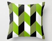 Geometric Throw Pillow Cover - Black, White, Wheatgrass, Sage, Green Tea