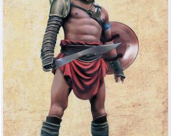 Thracian Ancient Roman Gladiator A5 / A4 canvas paper art Print