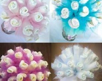 Themed Diaper Bouquet  - Diaper Bouquet - Unique Baby Shower Gift or Decoration - Hospital Gift - Baby Boy, Baby Girl, Neutral Gift