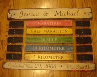 Couples Race Time Display - Rustic Board Sign Running Triathlon Ironman Marathon Swimming Times Standings board