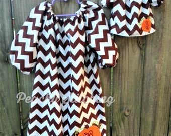 Brown Chevron Peasant Dress with Pumpkin Applique and Matching Doll Dress