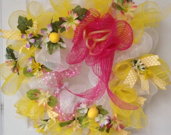 Beautiful Summertime Yellow Handmade Deco Mesh Wreath