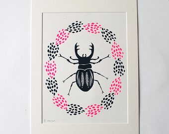 Stag Beetle Screen Print