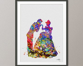 Cinderella with Prince Disney Princess Watercolor Wedding Gift idea Girls Wall Art  Home Decor Wall Hanging [NO 143]