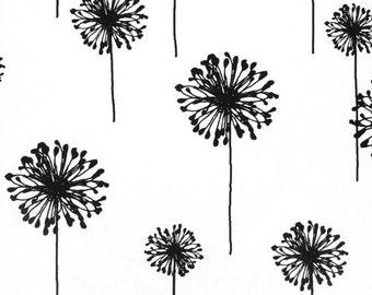 Drapery Fabric Upholstery Fabric Black Dandelion Fabric White And Black Fabric Fabric Decorative Fabric 1 2 Yard 54 Width