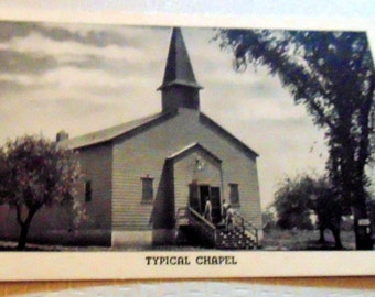 """WWII Postcard RPPC """"Typical Chapel"""" Camp Lee, VA in Excellent Condition"""