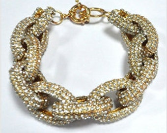 20% off SALE - Pave Link bracelet - Gold