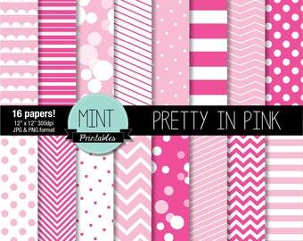 Pink Digital Paper, Scrapbooking Paper, Patterned, Printable, Baby Shower Girl Digital Backgrounds Chevron Polka Dots - BUY 2 GET 1 FREE!