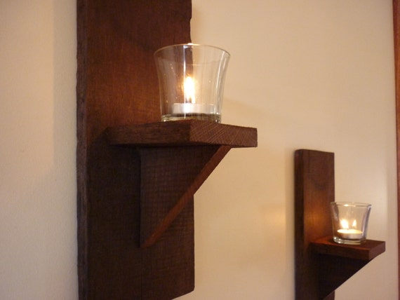 Rustic Candle Wall Lights : Rustic Wall Sconce Candle Holders set of 3 custom order