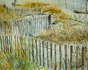Watercolor painting,BEACH PAINTING,seashore painting,scenic painting, seascape painting, sea, beach, ocea, dunes, dune fence, dune grass