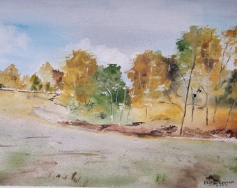 wooded landscape,Watercolor painting,art and collectibles,-trees, autumn,scenic,, but yellow trees, green trees, pasture, farm scene,
