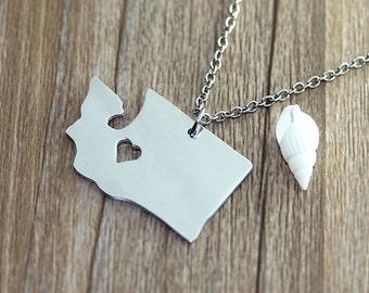 I heart Washington Necklace - Washington Map Pendant - Map necklace - Map Jewelry - State Necklace - State Charm