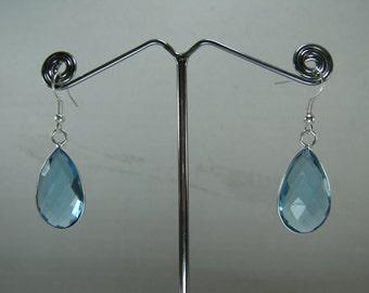 Christmas Sale,  Blue Topaz Drop Earrings
