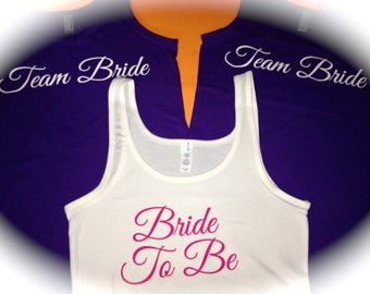 5 jersey knit bridesmaid tank tops. 5 stretchy bachelorette party shirts. Bridesmaid screen print t-shirts. XXL, XL, Large, Medium, small