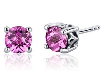 Round Pink Sapphire Stud Earrings, Sterling Silver