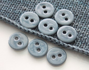 "8 Small Watery Blue Ceramic Buttons (21 mm / 0.8"")"