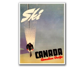 Canada Ski Poster Travel Art Canadian Home Decor Hiking Wall Art Print (H109)