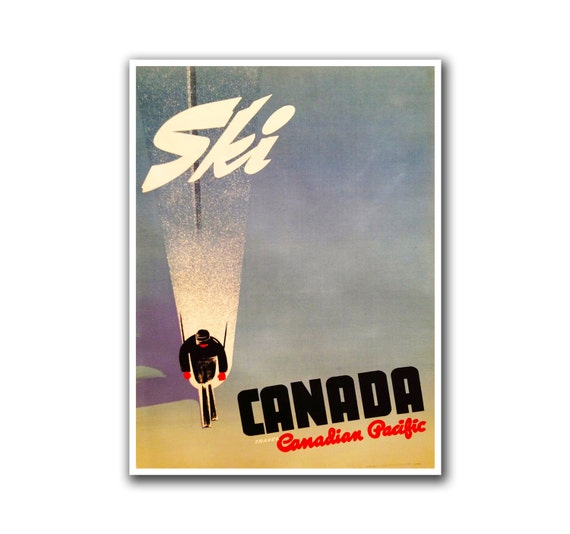 Canada ski poster travel art canadian home decor hiking wall for Home decor canada