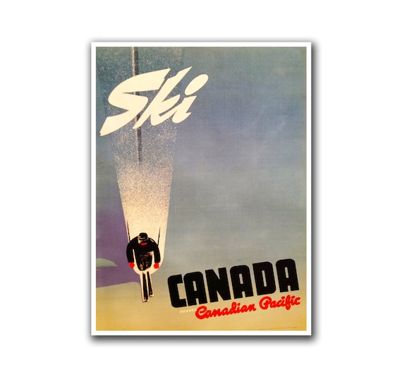 Home Decor Online Canada Of Canada Ski Poster Travel Art Canadian Home Decor Hiking Wall