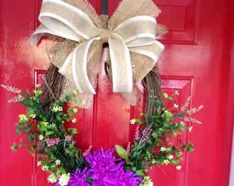 Summer Wreath Summer Door Hanger Floral Wreath Summer