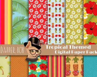 Tropical Island Digital Paper Pack for Scrap-booking and Paper Craft