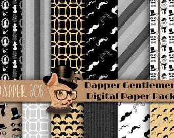 Dapper Gentlemen-Themed Digital Paper Pack for Scrap-booking and Paper Craft