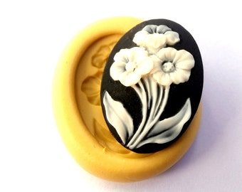 Flower Cameo Mold Mould Resin Clay Fondant Wax Soap Fimo Cabochon Flexible Silicone Mold