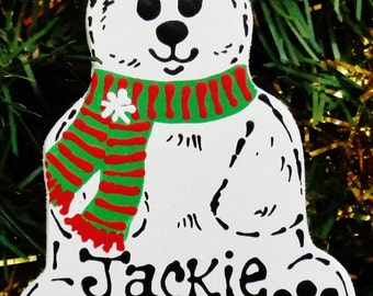 U Choose Name & Date Personalized POLAR BEAR ORNAMENT Christmas Name Animal Artic Holiday Handcrafted Handpainted