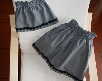 grey skirt with black lace